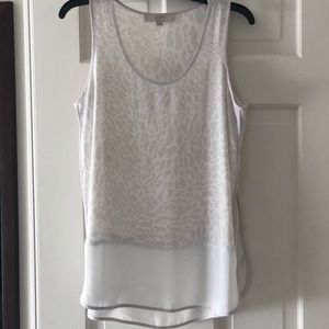 LOFT Beige Cream Animal Print Sleeveless Top M